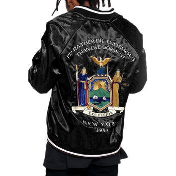 New York Black Satin Embroidery Bomber Souvenir Jacket - 2 Left!