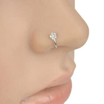 ac PEAPO2Q Small Thin 5 Rhinestones Flower Piercings Nose Hoop Stud Ring Body Piercing  nose rings Jewelry Decoration Gift Pendant Ornament
