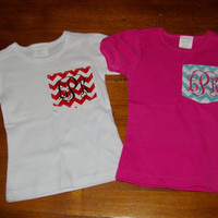Girls Pocket Tee Chevron Monogrammed T-Shirt fitted toddler