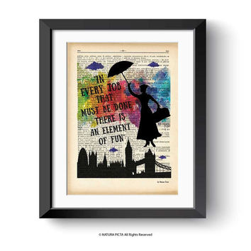 Mary Poppins print-Mary Poppins dictionary print-In every job print-Poppins on book page-fairy tale print-nursery print-NATURA PICTA-DP169