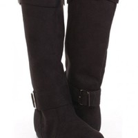 Black Faux Suede Two Buckle Straps Mid Calf Boots @ Amiclubwear Boots Catalog:women's winter boots,leather thigh high boots,black platform knee high boots,over the knee boots,Go Go boots,cowgirl boots,gladiator boots,womens dress boots,skirt boots,pink bo