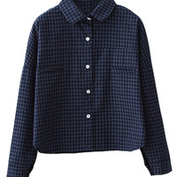 Navy Plaid Long Sleeve Blouse