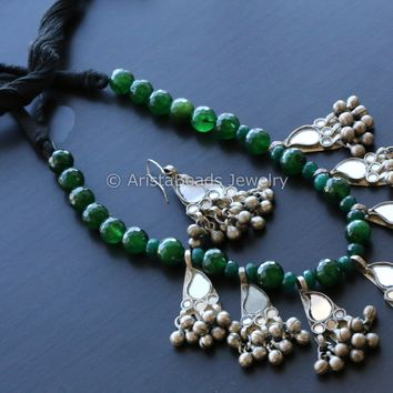 Mirror Glass  Green Beaded Necklace