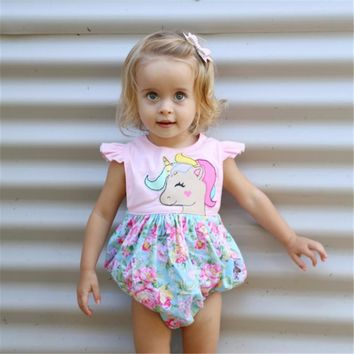 Newborn Baby Girls Floral Unicorn Romper Bodysuit Jumpsuit Outfits baby girl clothes  bodysuit Sunsuit