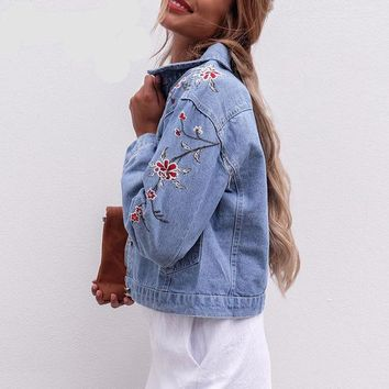 0e1b9e58b5f4 Flower embroidery Vintage Denim jacket
