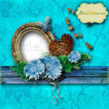 Recollections - Digital Scrapbook QUICKPAGE Layout - Pre-Made Quickpages - Pre-Made Layouts - INSTANT DOWNLOAD