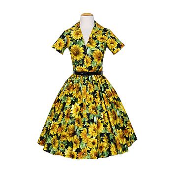 Drive Dress In Sunflower print