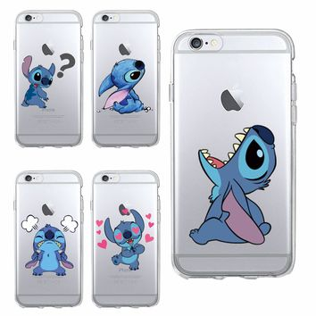 Funny Cute Stitch Cartoon Emoji Soft TPU Clear Phone Case Fundas Coque For iPhone 6 6S 7 7Plus 8 8Plus X 5S XS Max SAMSUNG