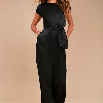 Let Me Entertain You Black Satin Wide-Leg Jumpsuit