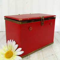Retro Red Leather & Brass Trim Jewelry Box - Vintage Latching Cash Box - Mid Century Deep Trinket Box - Navy Blue Linen Lined Artisan's Case