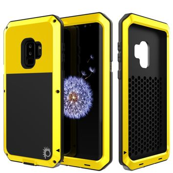 Galaxy S9 Plus Metal Case, Heavy Duty Military Grade Rugged Armor Cover [Neon]