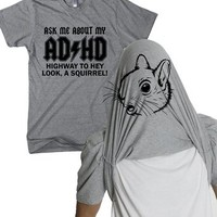 Ask Me About My ADHD T Shirt Funny Squirrel Flip Shirt