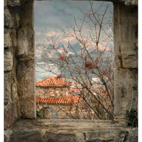 Window view, oversized art print, old city landscape photography, travel photo, large poster, 12x18, 16x24, 20x30, 24x36, autumn home decor