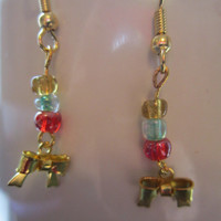Christmas Gold-Plated Pewter Small Bow Earrings with Seed Bead Accents