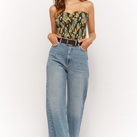 Smocked Tropical Floral Tube Top