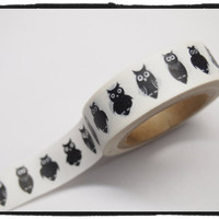 Washi Tape - black Owls Full Roll 11yards WT388