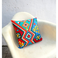 Pillow Case Cover - 16 Inch Size - Vintage Bold Ikat Style Fabric -