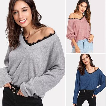 Solid Color Lace Patchwork V-neck Women Loose Sweater