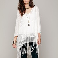 Free People Embroidered Sheer Poncho