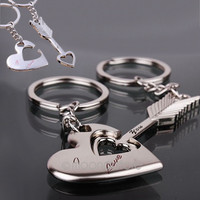 2pcs Fashion Love Heart Key Ring Keyfob,Couples Romantic Keychain Lover Gift = 1929524868