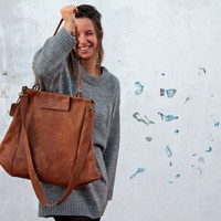 Sale 10% OFF leather bag/oversize/brown color/for women/tote/handmade