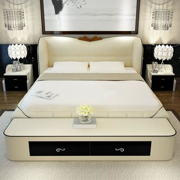 bedroom furniture sets modern leather double bed frame with bed tail