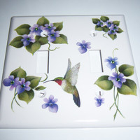 Purple violets/hummingbird double light switch cover - swarovski crystals