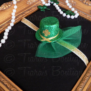 St. Patty's Mini Leprechaun Hat Headband - Girls, Babies, Women For St. Patrick's Day - Newborn Photo Prop - Green Gold w/ Shamrock