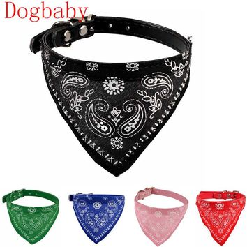 Dogbaby Pink Adjustable Puppy Cat Neck Dog scarf Collar Neckerchief Flowers Print Pet supplies Pet shop dog accessories 2017 New