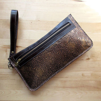 Everyday Bag, Leather, Wristlet, Zippered Clutch, Toiletry Pouch, Copper Wallet, Large Bag, Birthday Gift, Gifts For Mom, For Her