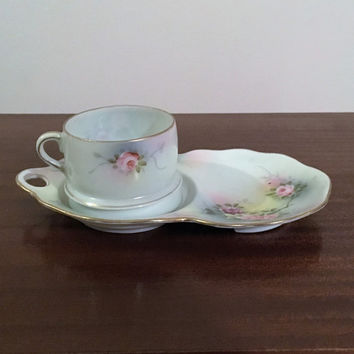 Vintage Early 1900s Teacup Biscuit Snack Set by Japan IE&C Co. Hand Painted / Antique Cup and Plate Set / Cup Holder