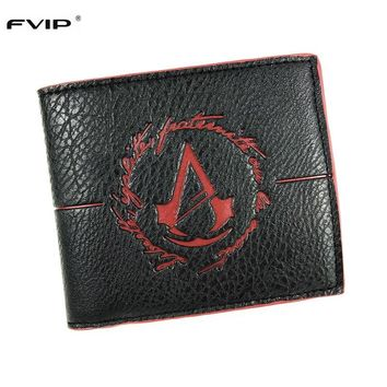 FVIP Men's Wallet With Coin Purse Minimalist Game Assassins Creed Wallet Leather Men's Wallet With Coin Pocket Small Purse