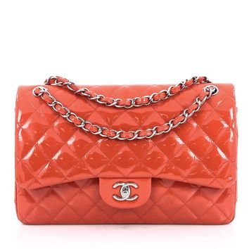 Chanel Pre-Owned: Chanel Classic Double Flap Bag Quilted Patent Jumbo | Bluefly.Com