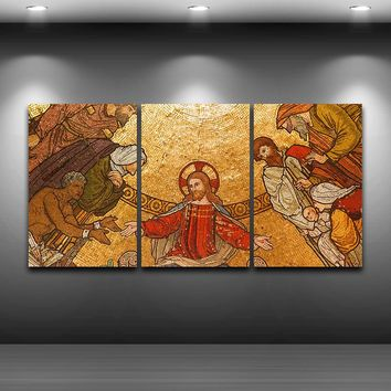 Canvas HD Prints Pictures Wall Art Framework 3 Pieces Jesus Christ Paintings Classical Poster Modular Home Decor For Living Room