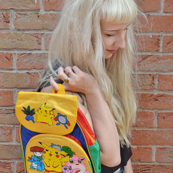 RARE Vintage Retro 90s Club Kid Pikachu Jigglypuff Squirtle Pokemon Collectable Collectible Kids Backpack Rucksack Bag