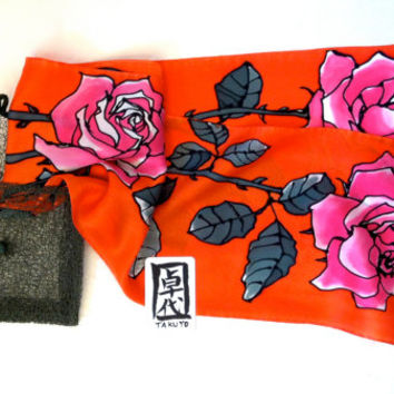 Red silk scarf Handpainted, Pink Roses in Red. Red Floral Scarf. Silk Scarves Takuyo. Silk Satin Scarf. Approx 7.5x52 in.