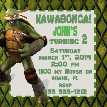 Birthday Invitation-Birthday Card- Kowabonga!-Ninja Turtles-Party- 5 X 5 -2 Sided