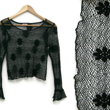 Vintage Lace Crop Top~Size Extra Small to Small~80s 90s Floral Mesh Stretchy Bell Long Sleeve Black Shirt~By Wild Cat