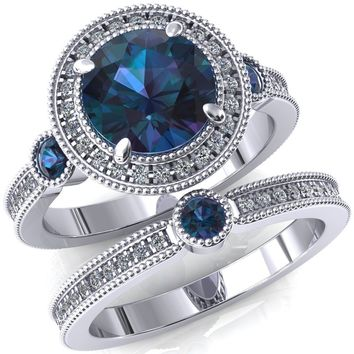 Brachium Round Alexandrite Bezel Milgrain Halo 3/4 Eternity Accent Diamond Ring