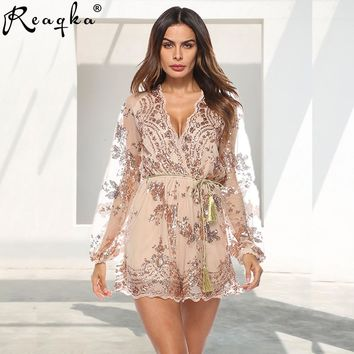 2019 Summer Sexy bodysuit Women V Neck Sequins Jumpsuit Mesh Long Sleeve Clubwear Gold Party Romper Runway Playsuit Overalls Hot