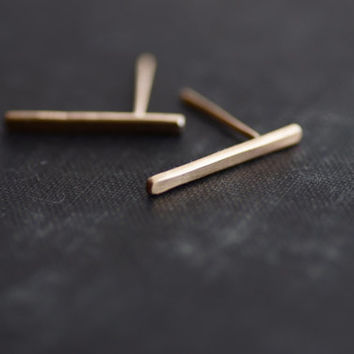 Bar Earrings - 14kt Gold Fill - Posts - Studs