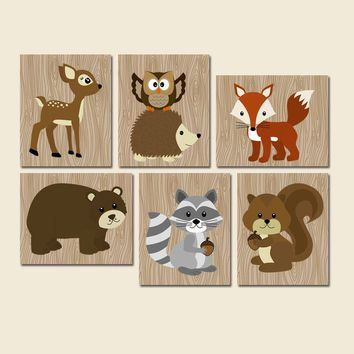 WOODLAND Wall Art, Woodland Nursery Decor, Woodland Baby Shower, CANVAS or Prints, Wood Forest Animals, Forest Pals Wall Decor, Set of 6