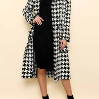 Houndstooth Embellished Double Breasted Coat