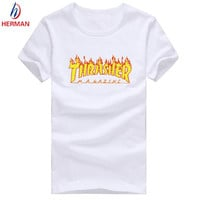 Dmart7dealThrasher Skate Print Tshirt Polyester Compression T shirt Men and Women Skate Thrasher T-shirt Kid Clothing,