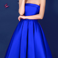 Blue Bowknot Strapless Skater Dress