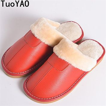 Waterproof Winter Men Casual Warm Home Slippers Couple Cow Leather Wool Plush Man Mujer lover Winter shoes Floor Slipper Shoes