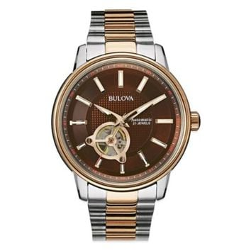 Bulova Men's 45mm Automatic Movement Watch in Two-Tone Stainless Steel
