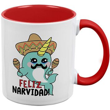 Christmas Narwhal Feliz Narvidad Navidad Red Handle Coffee Mug