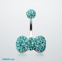 Tiffany Inspired Bowtie Multi-Gem Belly Button Ring