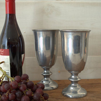 Silver Water Goblets, Pewter Wine Glasses, Stemmed Water Goblet